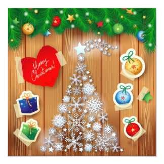 Christmas card with tree 13 cm x 13 cm square invitation card