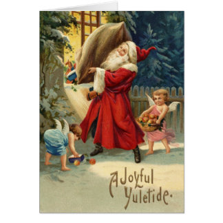 Christmas Card with Vintage Santa and angels