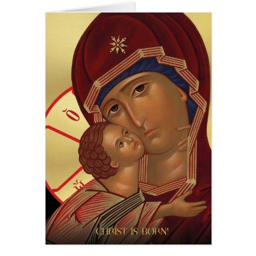 Christmas Card with Virgin Mary