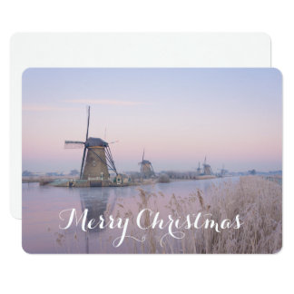 Christmas card with windmills in winter