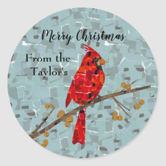 Christmas Cardinal bird collage Classic Round Sticker
