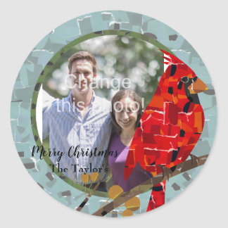 Christmas Cardinal bird collage Classic Round Sticker