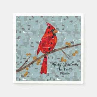 Christmas Cardinal bird collage Disposable Serviettes