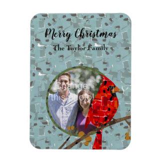 Christmas Cardinal bird collage Magnet