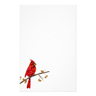 Christmas Cardinal bird collage Stationery