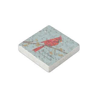 Christmas Cardinal bird collage Stone Magnet