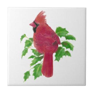Christmas Cardinal Bird Nature Wildlife,Watercolor Small Square Tile