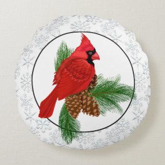 Christmas Cardinal Holiday round pillow