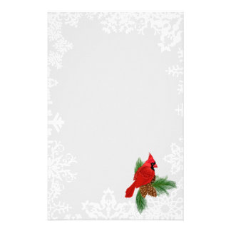 Christmas cardinal Holiday snowflake stationery