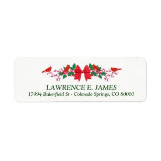 Christmas Cardinal Holly Christmas Return Address Label