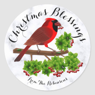 Christmas Cardinal with Holly tree branch Sticker