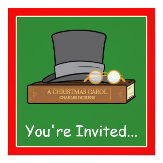 Christmas Carol and English Top Hat and Spectacles 13 Cm X 13 Cm Square Invitation Card