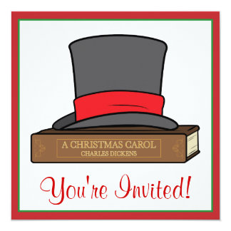 Christmas Carol and English Top Hat Party 13 Cm X 13 Cm Square Invitation Card