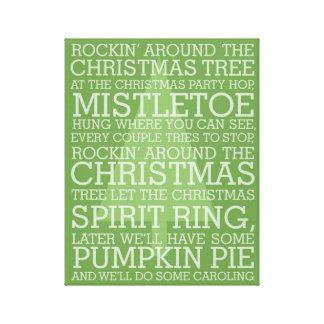 Christmas Carol Lyrics Rocking Around Gallery Wrap Canvas