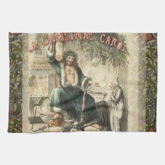 Christmas Carol Scrooge Ghost Present Artwork Tea Towel