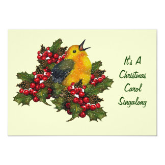 Christmas Carol Singalong: Bird, Holly, Berries 13 Cm X 18 Cm Invitation Card