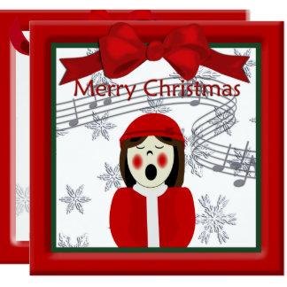 Christmas Caroler Woman Greeting 13 Cm X 13 Cm Square Invitation Card