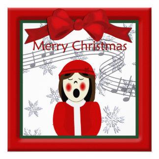 Christmas Caroler Woman Greeting Invitation