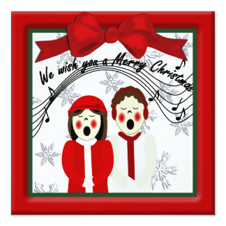 Christmas Carolers Couple Greeting 13 Cm X 13 Cm Square Invitation Card