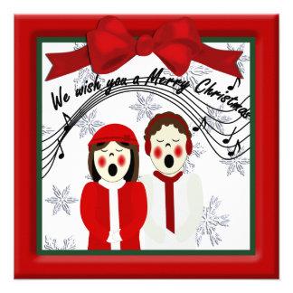 Christmas Carolers Couple Greeting Invitations