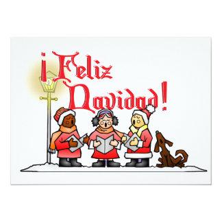 Christmas Carolers - Feliz Navidad 14 Cm X 19 Cm Invitation Card