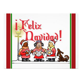 Christmas Carolers - Feliz Navidad Personalized Invites