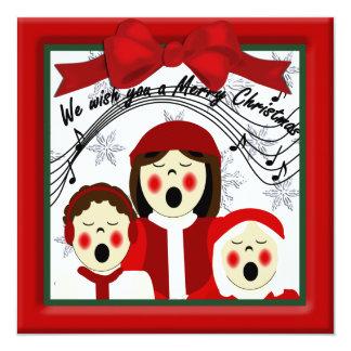 Christmas Carolers Greeting 13 Cm X 13 Cm Square Invitation Card