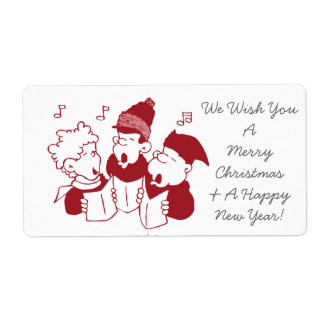 Christmas Carolers Shipping Label