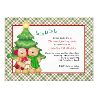 Christmas Caroling Birthday Invitation