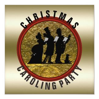 Christmas Caroling Black Gold Red Card