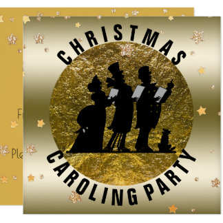 Christmas Caroling Party Black Gold Stars Card