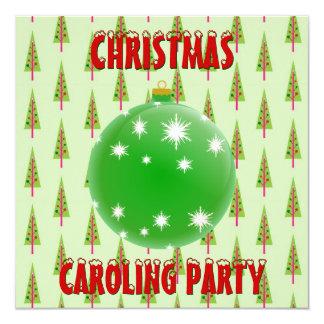 Christmas Caroling Party Green Ornament Xmas Trees 13 Cm X 13 Cm Square Invitation Card