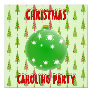Christmas Caroling Party Green Ornament Xmas Trees 5.25x5.25 Square Paper Invitation Card
