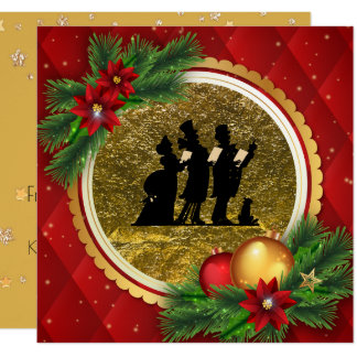 Christmas Caroling Party Red Gold Victorian Theme Card