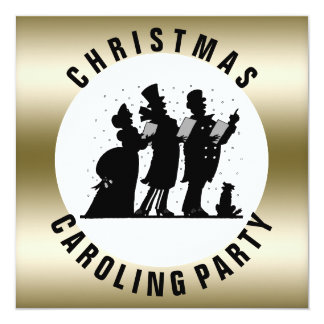Christmas Caroling Party Simple Faux Gold Card