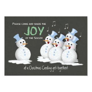 Christmas Caroling Party Singing Snowmen Joy 13 Cm X 18 Cm Invitation Card