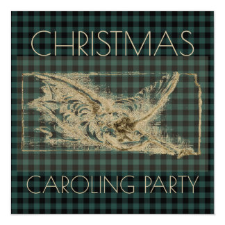 Christmas Caroling Party Vintage Angel Green Plaid Card