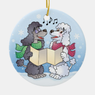 Christmas Caroling Poodles  Ornament