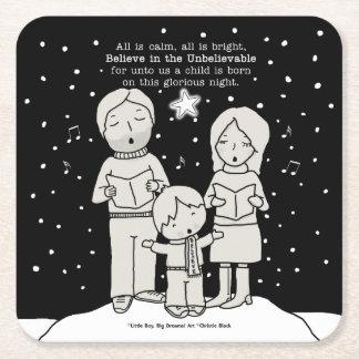 Christmas Caroling Square Paper Coaster