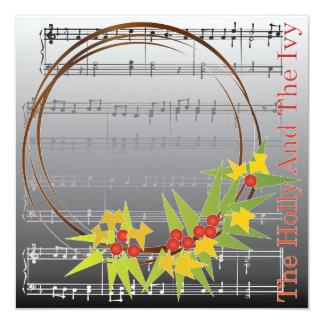Christmas Carols Holly Card/Invitation 13 Cm X 13 Cm Square Invitation Card