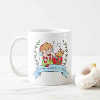 Christmas Carols with Boy and Reindeer Jolly Mug