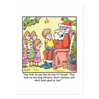 Christmas Cartoon about Santas New Glasses Postcard