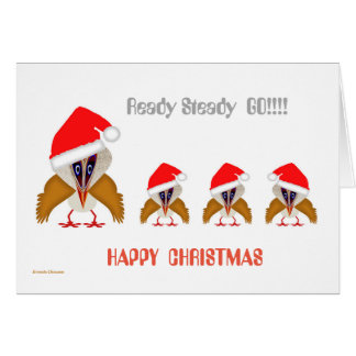 Christmas Cartoon Bird Greeting Card