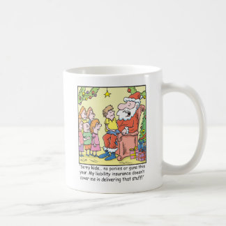 Christmas Cartoon Insurance for Santa Claus Coffee Mug