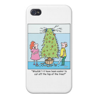 Christmas Cartoon Oversized Tree iPhone 4 Cases