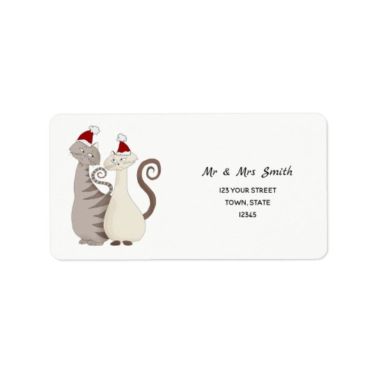 Christmas Cat Couple Cartoon Cute Elegant Stylish Label