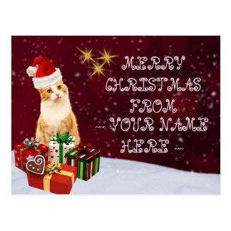 Christmas Cat Customizable Name Greetings Postcard