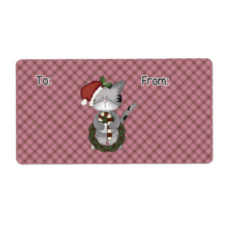 Christmas Cat Gift Label Shipping Label