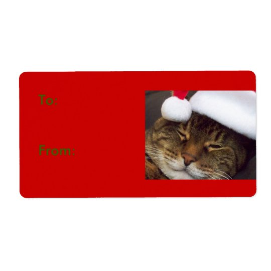 Christmas Cat Gift Tag Shipping Label
