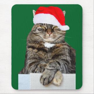 Christmas Cat Humbug Photo with Santa Hat Mouse Pad